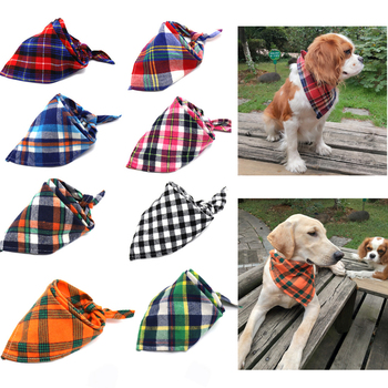 New Winter Dog Bandanas Cotton Plaid Washable Pet Bandanas Scarf Bow ties Collar Cat Samll middle large dog Grooming Products