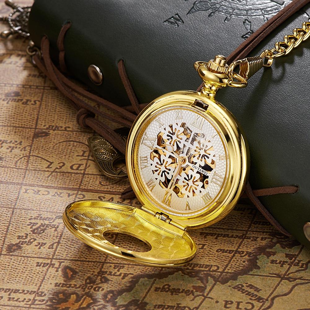 New Relogio OUYAWEI Full Steel Case Pocket Watch Men Mechanical Hand Wind Pocket Fob Watch Man Steampunk Watches Reloj Masculino