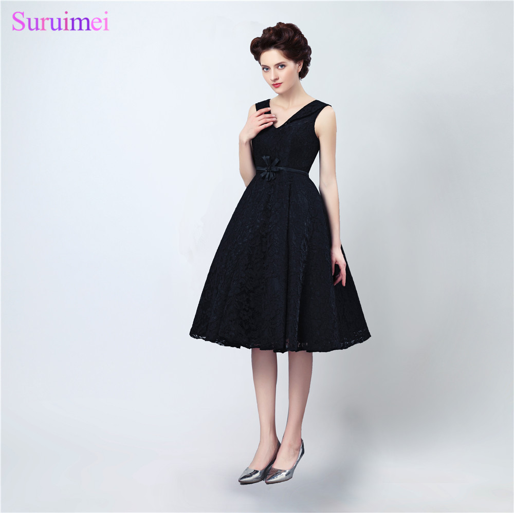 Black Lace Short   Bridesmaid     Dresses   Knee Length Cheap Brides Maid   Dress