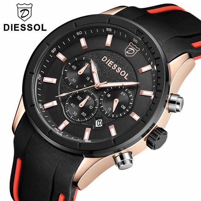 2290658e49e7 DIESSOL relojes para hombre marca de lujo de oro de cuarzo reloj de los hombres  Casual