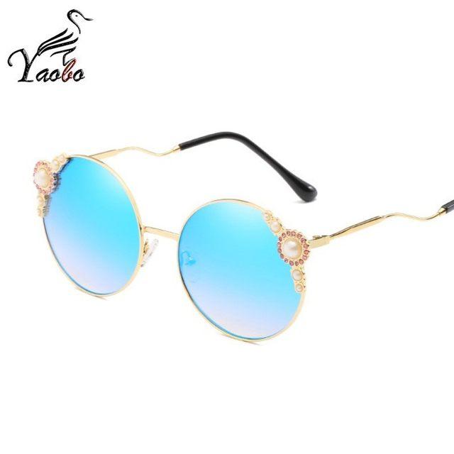 c5fa6054a752 Online Shop Luxury Cat Eye Sunglasses Women Round Pearl Rhinestone ...