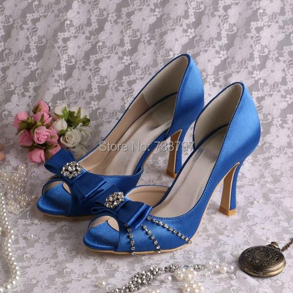 (20 Colors)High Quality Women Shoes Party Prom Pumps Open Toe Blue Satin Big Size