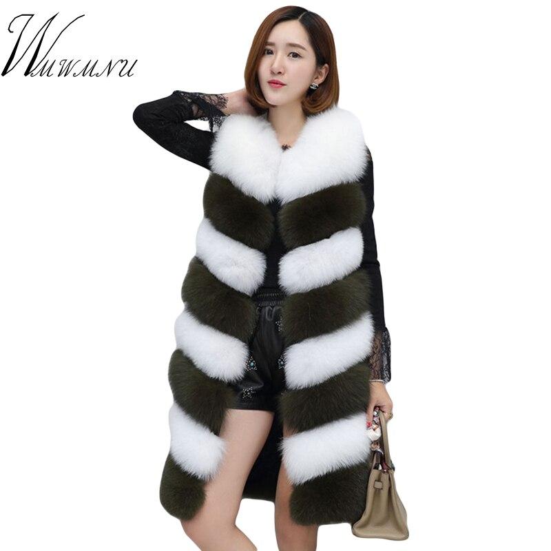 Women Fashion Luxury Long Faux Fur Vest Hot Sale Lady Patchwork Color Waistcoat Autumn Winter Sleeveless
