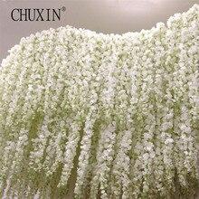 Искусственные цветы, Глициния, лоза, 120 см, одиночная серия цветов Silk140, растения «сделай сам», домашнее свадебное украшение для фона стены, 11 шт.