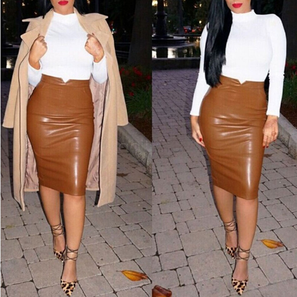 Fashion Women Pu Faux Leather Skirt High Waist Bodycon Tight Stretch Female Pencil Midi Skirts Straight Womens Saias Femininas In From