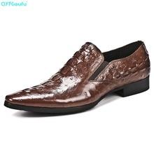 9ad5cf58cda369 QYFCIOUFU Mode Designer Hommes Bureau Chaussures Oxford Véritable Chaussures  En Cuir Formelle Haute Qualité Crocodile Motif