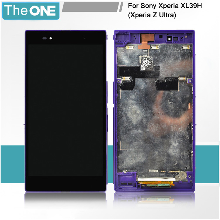 Purple For Sony Xperia Z Ultra XL39h XL39 C6806 C6843 C6833 LCD touch screen digitizer assembly with frame,Free shipping!!  lcd display touch screen digitizer for sony xperia z ultra xl39h xl39 c6802 c6806