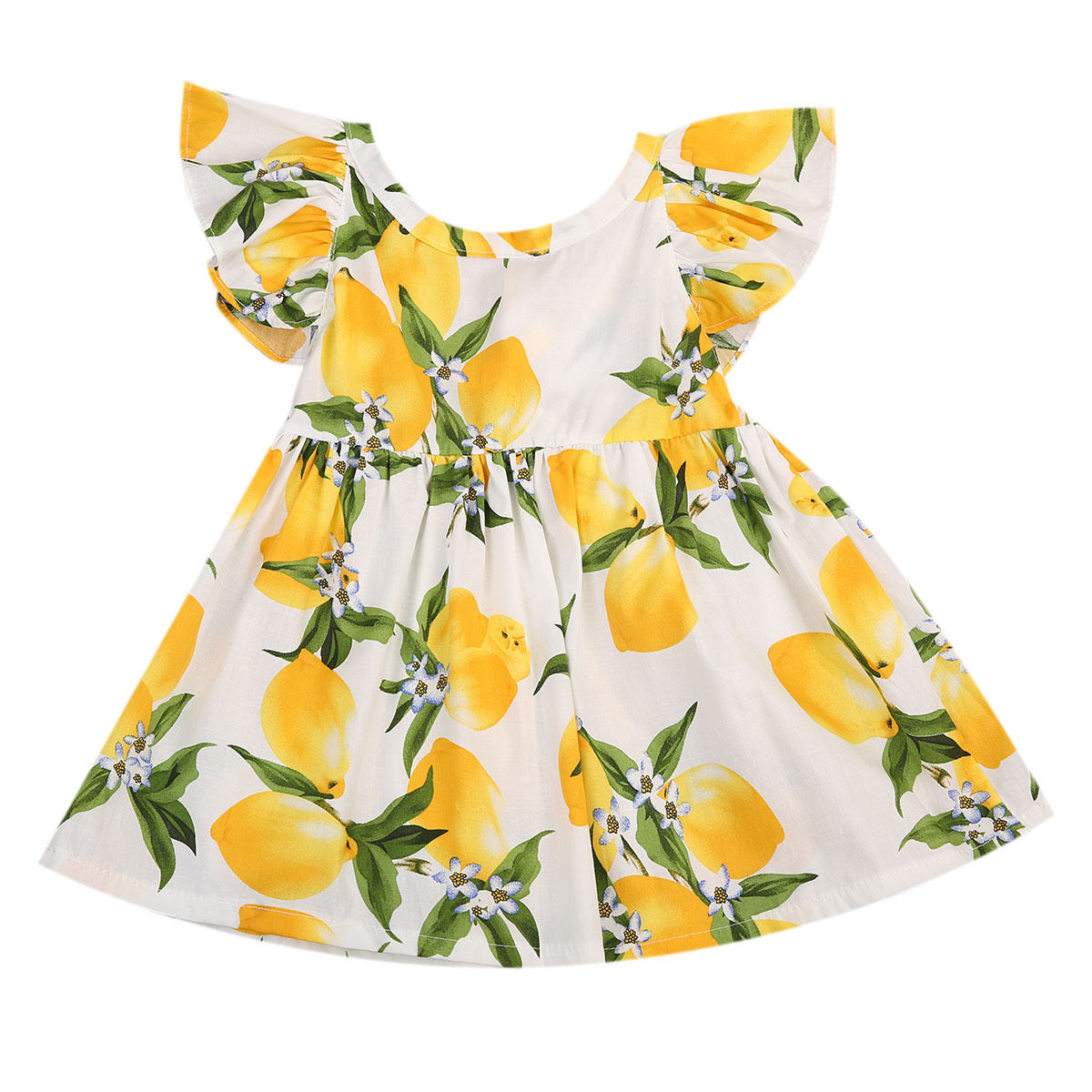 Newborn Infant Fashion Dresses Baby Girls Back Bandage One-piece Dress Toddler Kid Lemon Print  Holiday