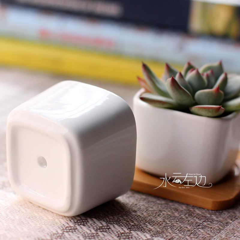 Zakkar thuis Keramische micro tuin Bruiloft mini Bloempotten vierkante sappige planten vaas bloempotten container kleine bonsai pot