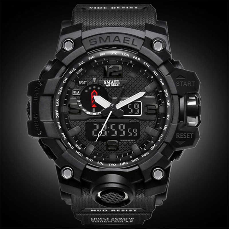 Smael marca superior relógio de quartzo analógico masculino esportes relógios dos homens choque militar relógio à prova dwaterproof água led digital relógio de pulso masculino