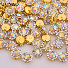 JUNAO 8 10 12 14 mm Sewing Glass AB Crystal Flower Rhinestone Gold Applique Claw Strass Sew On Stones for DIY Needlework Clothes