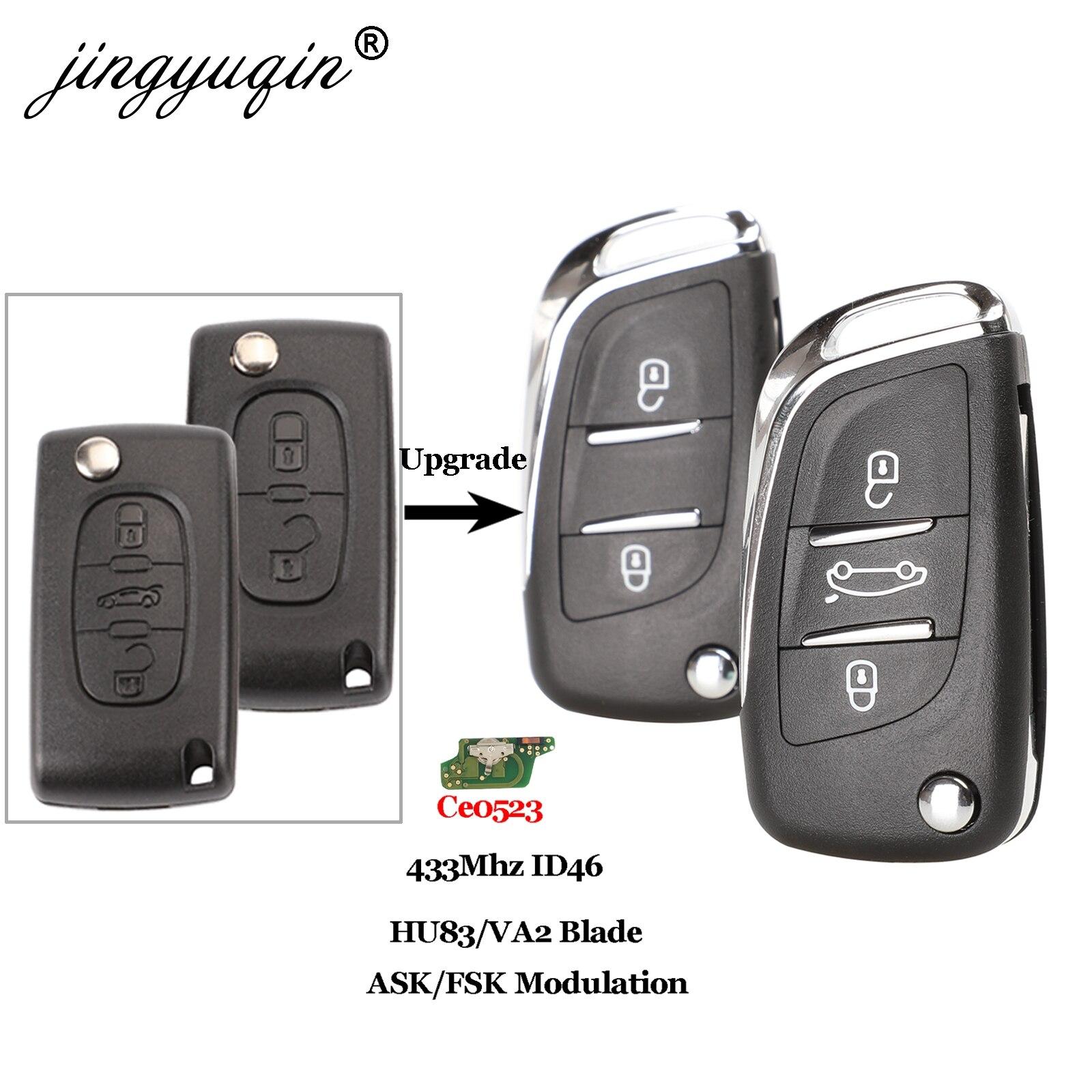 Jingyuqin Ce0523 ASK/FSK 2/3 bouton clé de voiture à distance pour Citroen C2 C3 C4 C5 433Mhz ID46 modifié rabattable clé de voiture contrôle