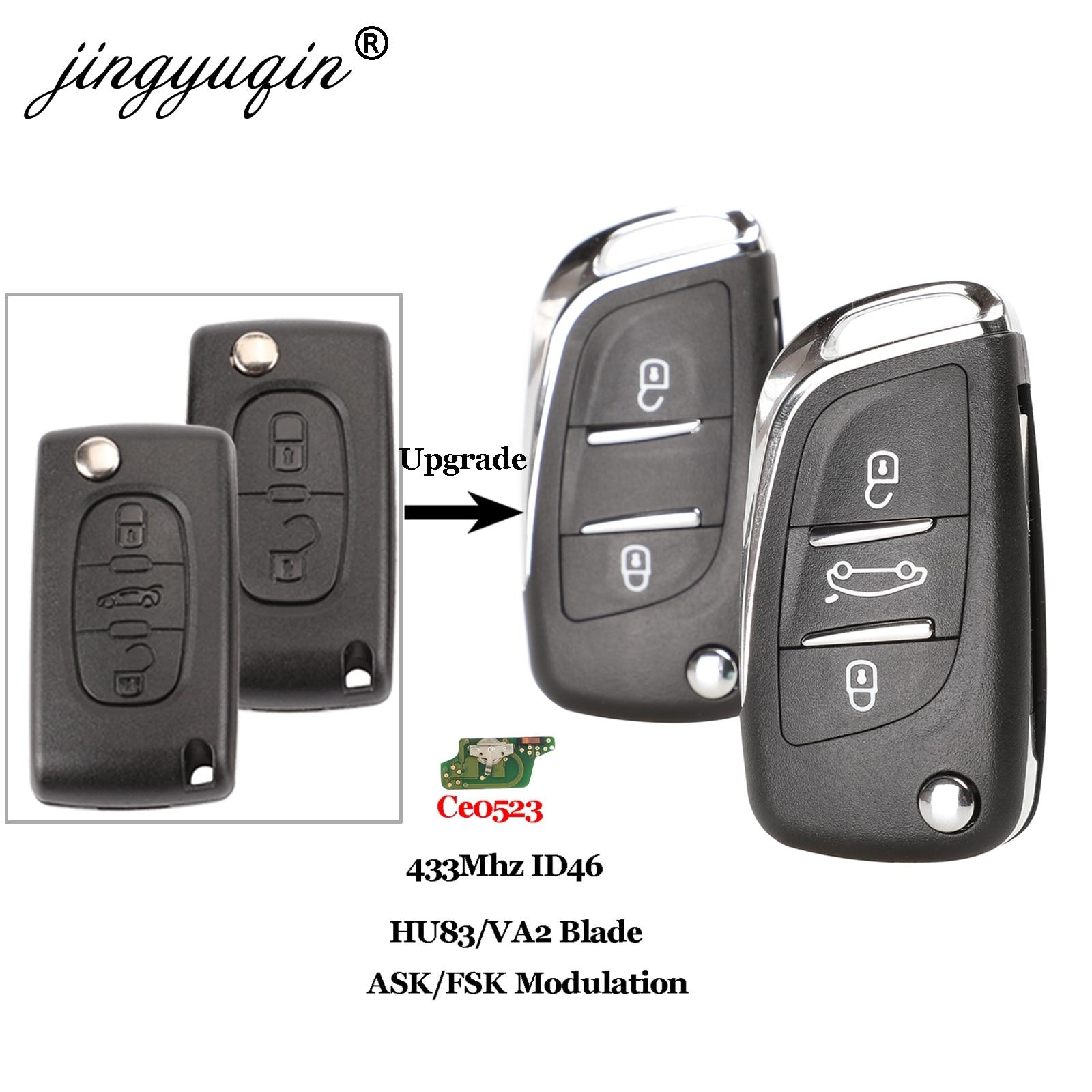 Jingyuqin Ce0523 ASK/FSK 2/3 кнопочный дистанционный Автомобильный ключ для Citroen C2 C3 C4 C5 433Mhz ID46 модифицированный Раскладной Автомобильный ключ управлен...