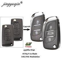 Jingyuqin Ce0523 ASK/FSK 2/3 кнопочный дистанционный Автомобильный ключ для Citroen C2 C3 C4 C5 433 МГц ID46 модифицированный складной Автомобильный ключ