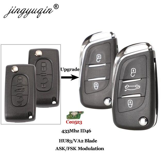 jingyuqin Ce0523 ASK/FSK 2/3 Button Remote Car key For Citroen C2 C3 C4 C5 433Mhz ID46 Modified Flip Folding Car Key Control
