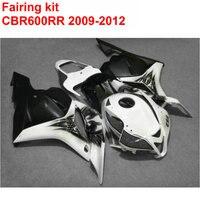 Injection molding ABS full Fairing kit for HONDA cbr600rr 2009 2010 2011 2012 CBR 600 RR black white plastic fairings 09 12 LK21