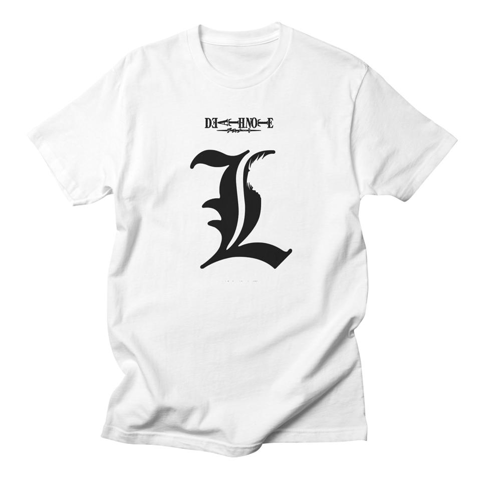 Death Note L White T Shirt Men Cotton Anime Casual Fashion Streetwear Harajuku High Quality Homme Basic Tee Shirt Men Hip Hop Футболка