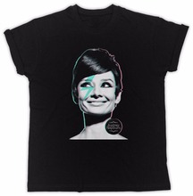 New Fashion Cool Casual T Shirts Gildan O-Neck Men Short Sleeve Office Audrey Hepburn Celebrity 60'S Tee