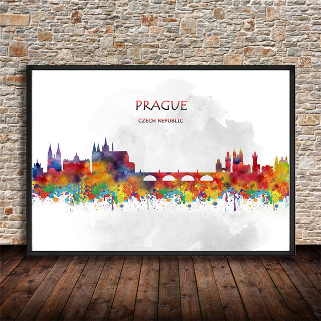 Abstract watercolor city canvas painting prague czech republic print poster home decor wall sticker living room