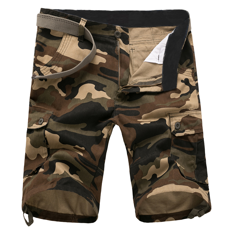 2018 Summer New Mens Casual Loose Straight Camo Shorts / Mens Multi Pocket Design Camouflage Print Overalls S