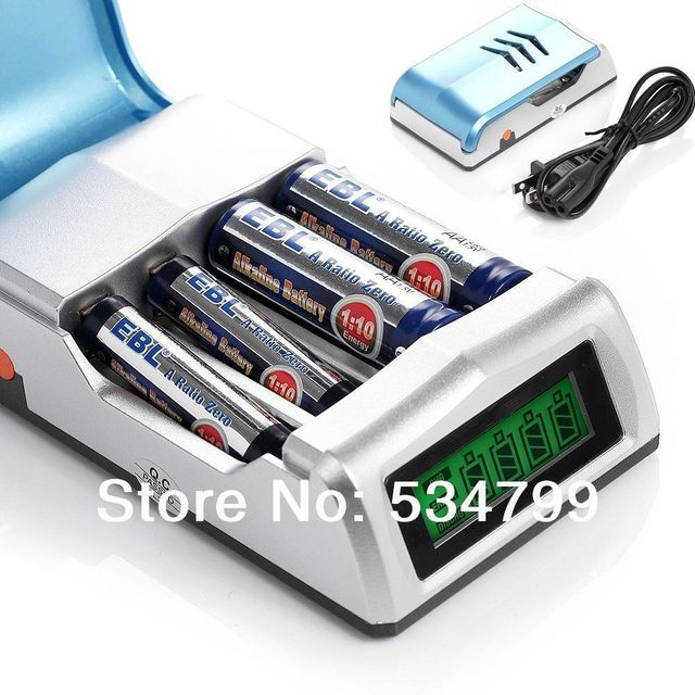 EBL Universal LCD Display Smart Intelligent Rechargeable Battery Charger for AA/AAA NI-MH NICD Battery free shipping
