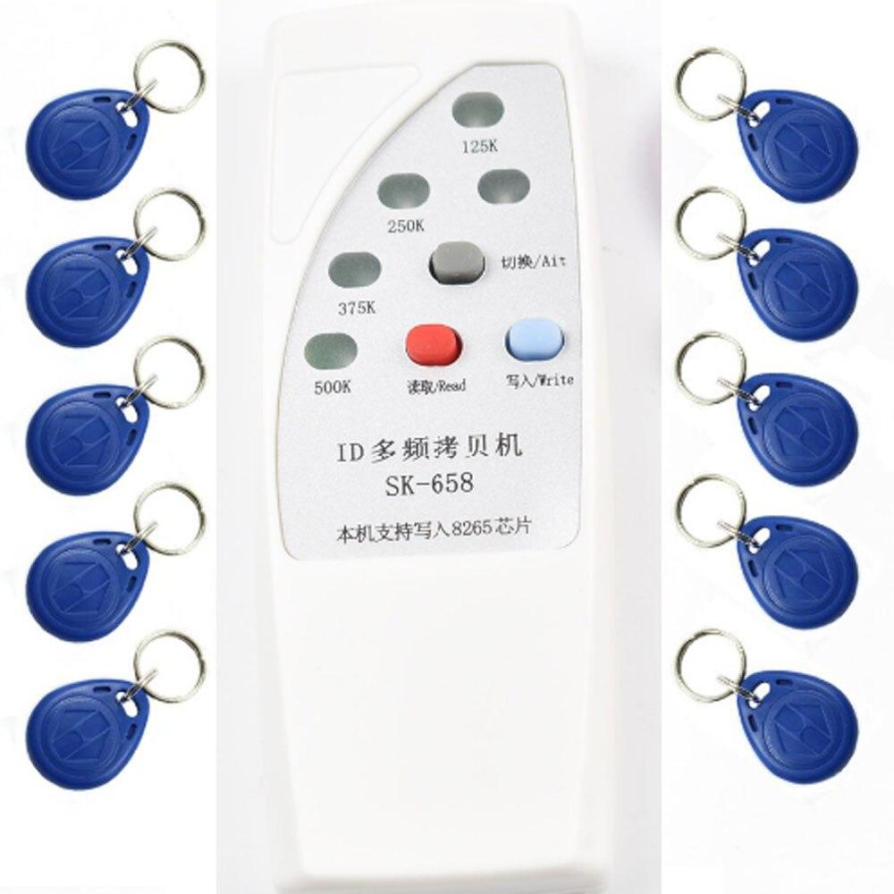 4 fréquence RFID Copieur Duplicateur Cloner ID EM EM4305 t5577 5200 lecteur écrivain + 10 pcs EM4305 inscriptible porte-clés