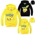 Outono bebê primavera crianças meninas meninos camisola pokemon pikachu hoodie go crianças t-shirt meninas manga longa com capuz hoodies