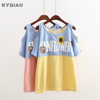 Kyqiao mori kız japon tarzı o boyun straplez sarı pembe ayçiçeği t-shirt sevimli kawaii t gömlek artı boyutu kadın clothing