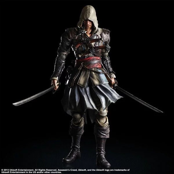 SAINTGI PLAY ARTS Assassins Creed 4 Black Flag Edward James Kenway Anime Game Figurine PVC Action Figure Model Toy 27cm assassins creed 4 black flag wallet dft 1139
