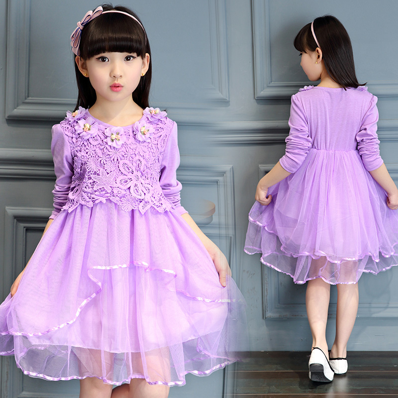 2017 new children's clothing girls spring long-sleeved dress in the big children spring lace spring and autumn princess  ti princess girls long sleeved children s evening autumn new europe and the united states dress kids clothing red silk