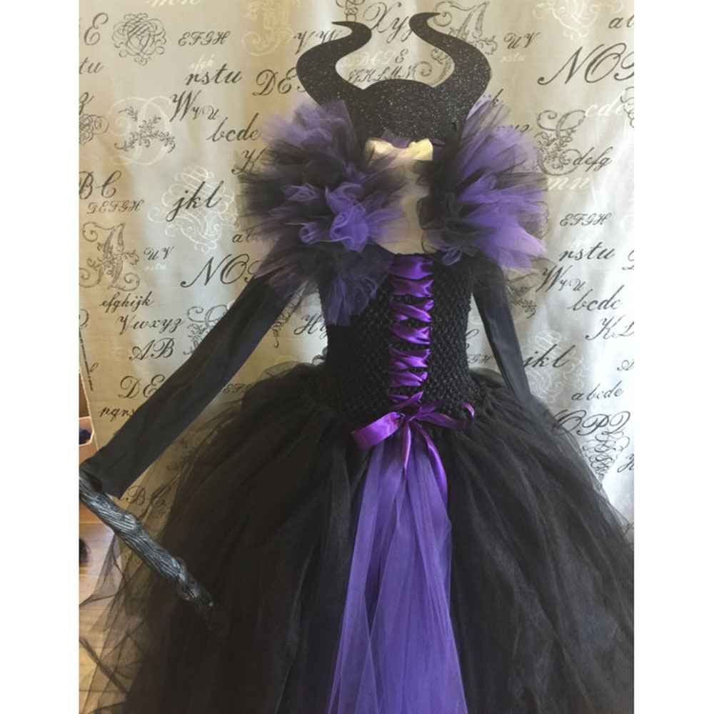 Girls Evil Queen Cosplay Tutu Dress Carnival Queen Dress Evil Witch Costume for Kids Princess Girl Evening Party Tutu Dress 2017 girl witch dress hat cap princess party dresses tutu baby kids children clothing carnival halloween cosplay costume
