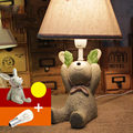 Top 110V-220V Children Room Wood Desk Lamp E14 Led Desk Light Meng Monkey Switch Button Bedside Lamp Cartoon Table Light