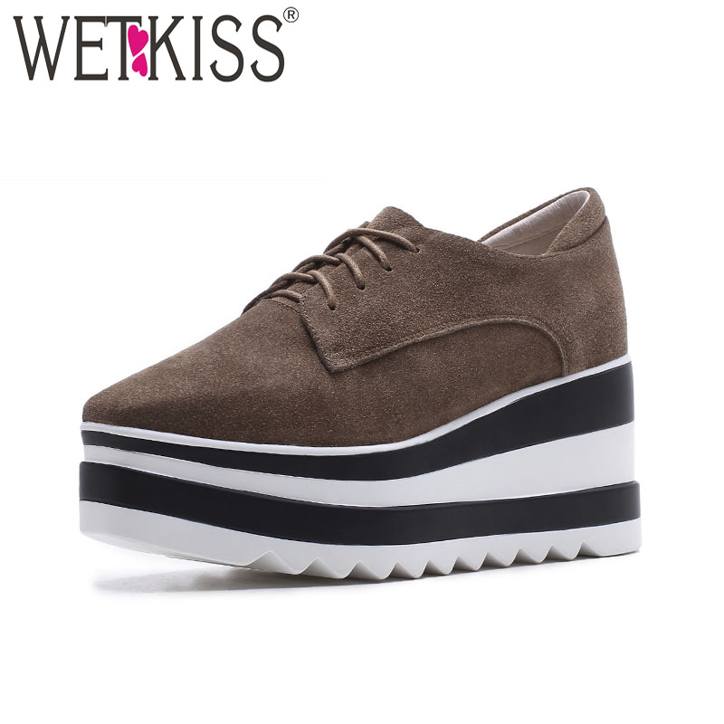 WETKISS Cow Suede Casual Flats Women Square Toe Wedges Shoelaces Footwear 2018 New Spring Platform Sneaker Shoes Ladies donna in 2017 spring new women platform casual shoes suede leather wedges comfortable ladies flats