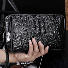 Crocodile pattern anti theft password lock wallet genuine leather wallet mens clutch bag business wallet large capacity purse