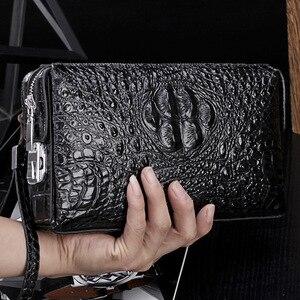 Image 1 - Krokodil muster anti theft passwort schloss brieftasche aus echtem leder brieftasche männer kupplung tasche business brieftasche große kapazität geldbörse