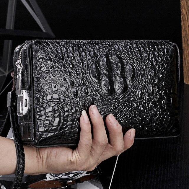 Krokodil muster anti theft passwort schloss brieftasche aus echtem leder brieftasche männer kupplung tasche business brieftasche große kapazität geldbörse