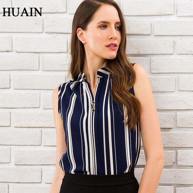Blue Striped Blouse Shirt Sexy Sleeveless V-neck Summer Top 2018 Office Ladies Work Wear Fitness Female Korean Fashion Clothing 1