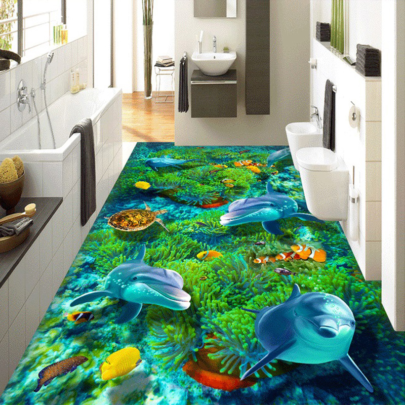 Custom 3D Private Floor Wallpaper Mural Cartoon Undersea World Turtle Coral Dolphin Kids' Bedding Room Self-adhesive Wall Paper xeltek private seat tqfp64 ta050 b006 burning test
