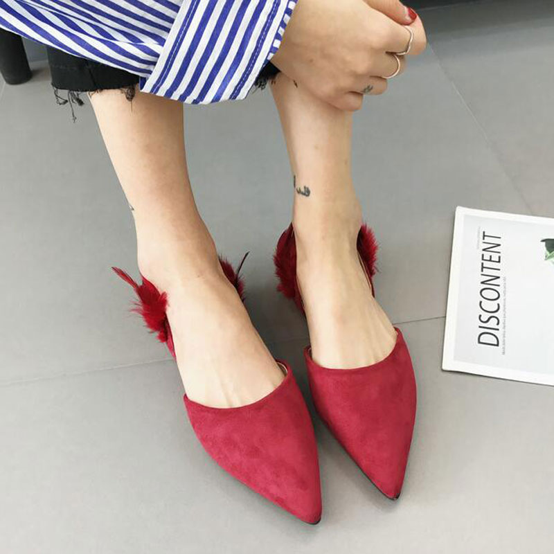 Tangnest NEW Summer Women Flat Sandals Fashion Feather Decoration Slingback Shoes Sexy Pointed Toe Shallow Slip-on Sandals 2017 korean women shoes pointed toe shallow mouth flat heel buckle hollow pearls lady fashion flats women summer sandals 35 39
