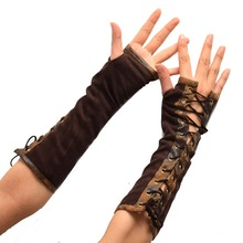 Steampunk Gloves Gothic Elbow Lace Up Fingerless for Women Costume Party Arm Warmer Sexy Mittens Clubwear Cosplay Accessories
