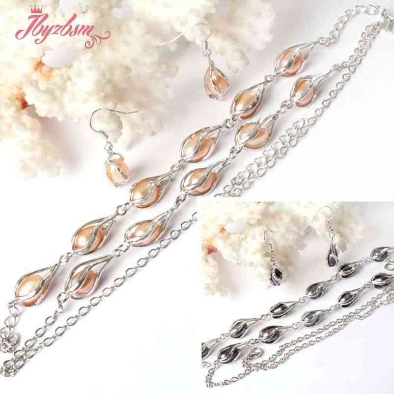 Free Shipping 7-9x9-10mm Freshwater Pearl Natural Stones White Silver Plated Bracelet Earring Necklace 1 Set