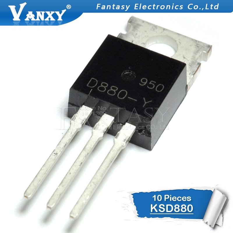 10pcs KSD880 TO-220 D880 KSD880-Y KSD880Y NPN Transistor 3A 60V Transistor  New Original