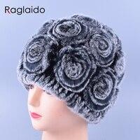 Raglaido Floral Women Beanie Hats Real Fur Winter Rex Rabbit Caps Elastic Hats High Quality Hand