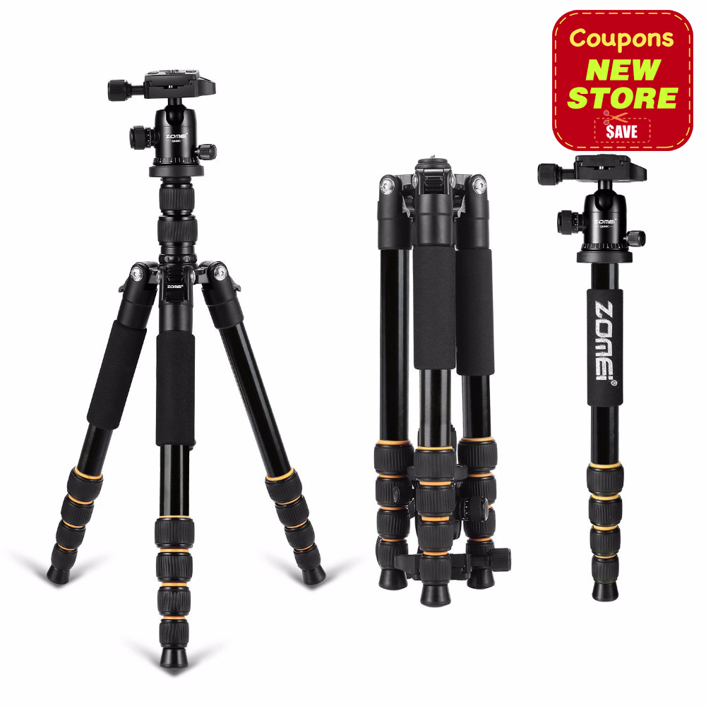 Zomei Q666 Lightweight Tripod For DSLR Camera Ball Head Monopod Tripod Compact Travel Camera Stand For Canon Nikon Sony SLR aluminium alloy professional camera tripod flexible dslr video monopod for photography with head suitable for 65mm bowl size