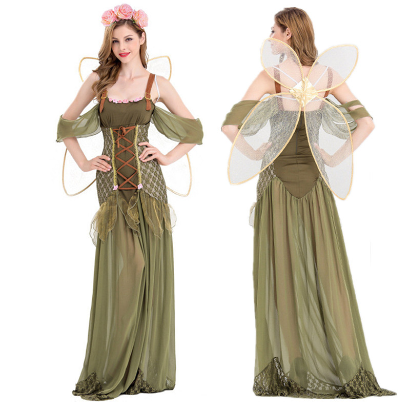 Women/'s Fairy Dress Party Costume with Sleeves Forest GREEN with PETAL SKIRT