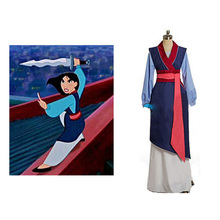 Hua mulan cosplay dress princess high quality costume for adult women blue