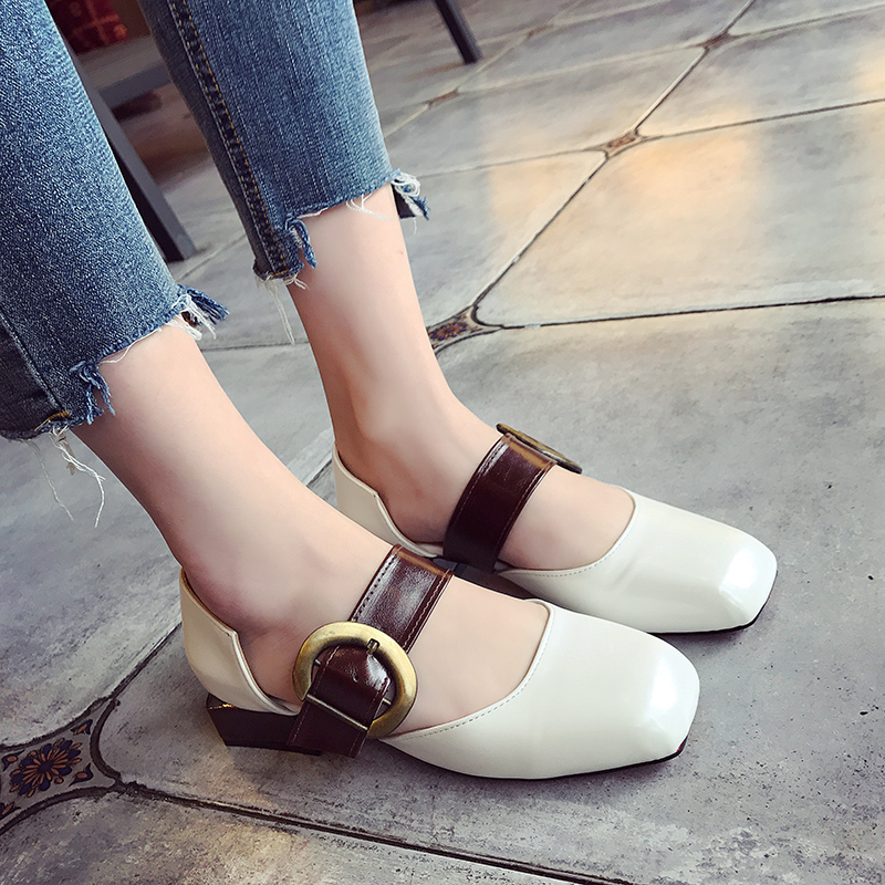 Marry Jeans Pumps Summer Medium Heel Leather Square Toe Sandals Young Lady Spring Daily Shoes selens pro 100x100mm 12nd square medium