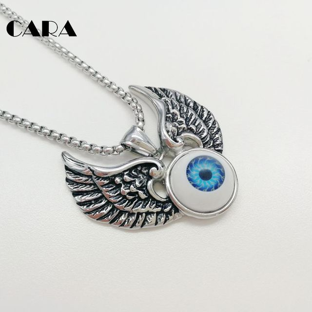 Cara new 316l stainless steel vintage silver wings devil eyeball cara new 316l stainless steel vintage silver wings devil eyeball pendant necklace mens hip hop aloadofball Choice Image