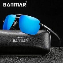BANMAR Brand Design Polarized Sunglasses Men Driver Shades Male Vintage Sun Glasses For Spuare Mirror UV400 Oculos With Box