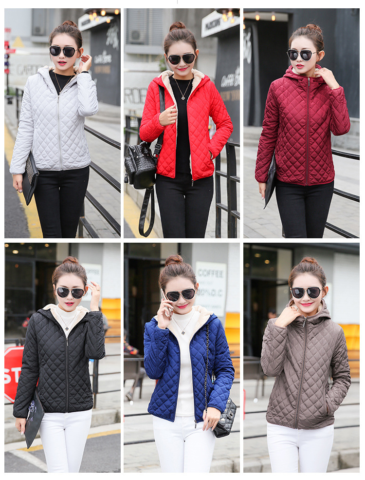 Autumn 2019 New Parkas basic jackets Female Women Winter plus velvet lamb hooded Coats Cotton Winter Jacket Womens Outwear coat 6